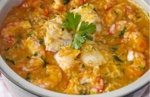 Portuguese Fish and Shrimp Rice Recipe