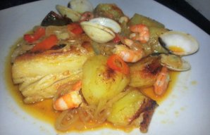 Portuguese Baked Cod with Shrimp & Clams Recipe