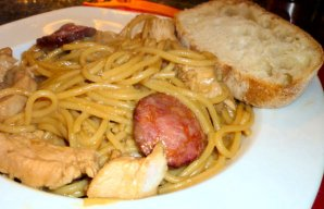 Portuguese Style Chicken Spaghetti with Beer Recipe