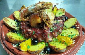 Portuguese Baked Octopus with Shrimp Recipe
