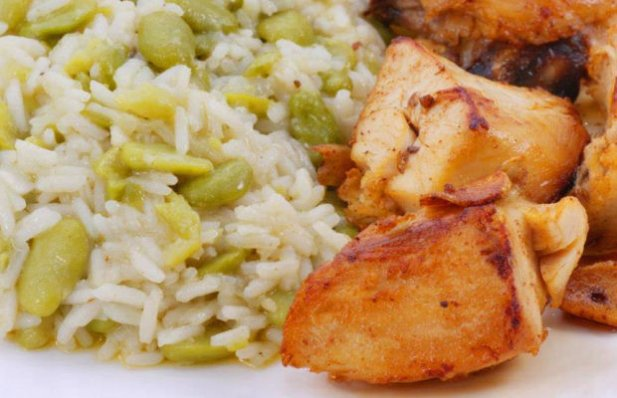 Portuguese Fava Beans Rice with Fried Chicken Recipe - Portuguese Recipes