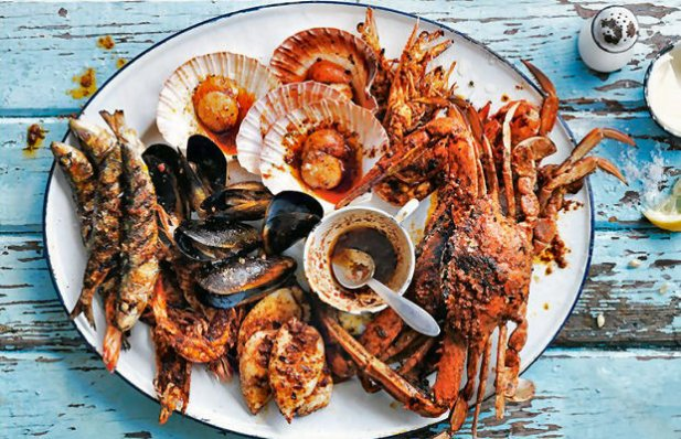 Portuguese Barbecued Seafood Platter Recipe
