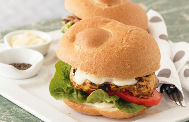 Fire up your grill and cook the tasty garlic, chili and lemon marinated chicken for this burger.