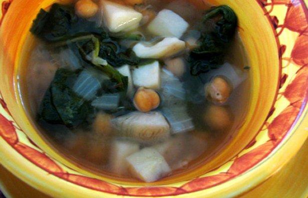 Portuguese Spinach & Chickpea Soup Recipe - Portuguese Recipes