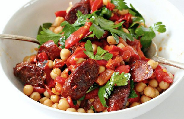 Portuguese Chouriço with Chick Pea Salad Recipe
