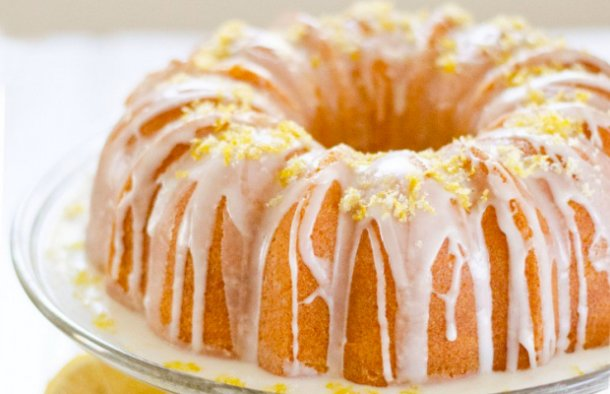 The light and zesty Portuguese avocado and lemon cake with lemon flavored icing is delicious.