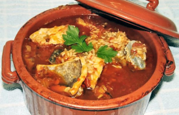 Try this Portuguese baked cod rice recipe with peppers and tomato, it tastes great.