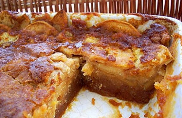Bake this moist Portuguese apple and caramel cake with freshly chopped apples for your family and friends.