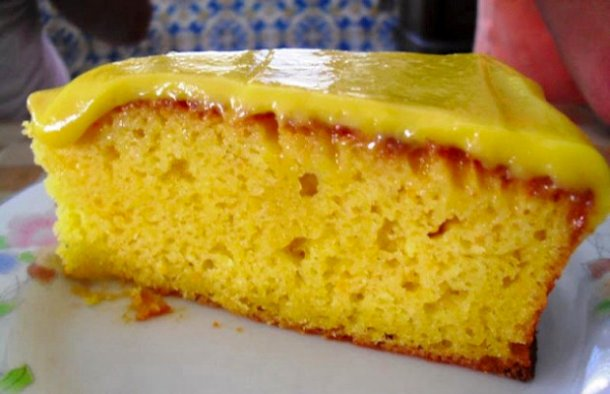 Portuguese Orange Cake with Curd Topping Recipe