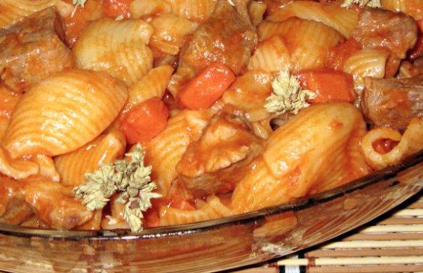 Portuguese Pasta with Pork Stew Recipe