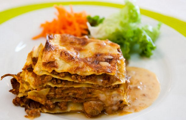 This delicious Portuguese style lasagna is great for a potluck or a meal for the family.
