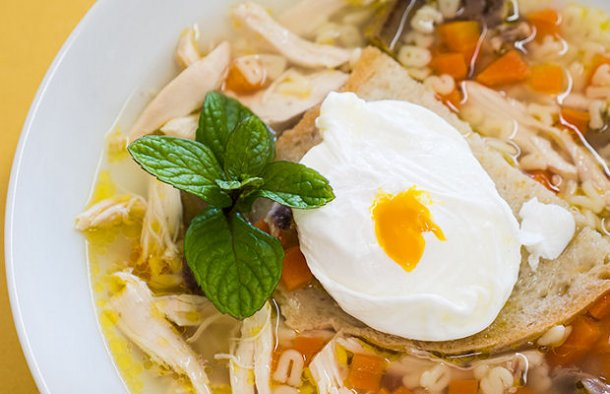 This tasty Portuguese chicken soup with poached egg recipe (receita de canja de frango com ovo escalfado) is great for a cold day or if you are feeling a bit under the weather.