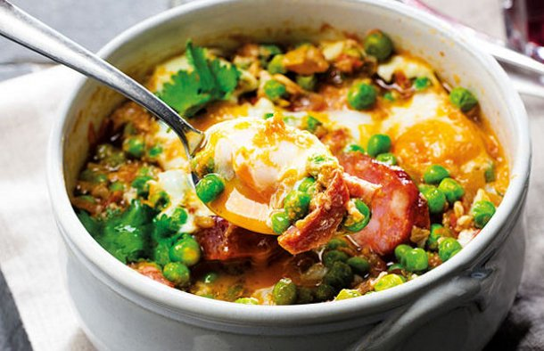 Portuguese Peas with Poached Eggs Recipe