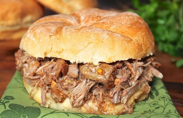 This slow cooked Portuguese caçoila (pulled pork) makes a delicious meal served on your favorite roll or bun.